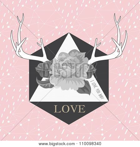 Hipster abstract background with deers antlers and roses label.