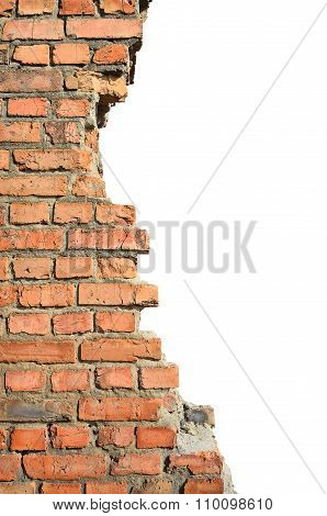 Half Ruined Brick Wall On A White Background