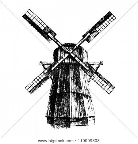Hand drawn black and white mill