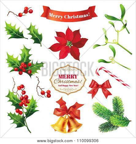 Elements of Christmas decoration. Vector design set.