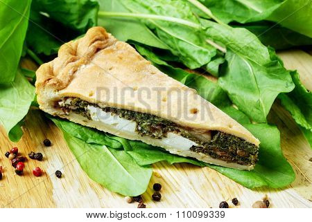 Pie with spinach and feta cheese, food