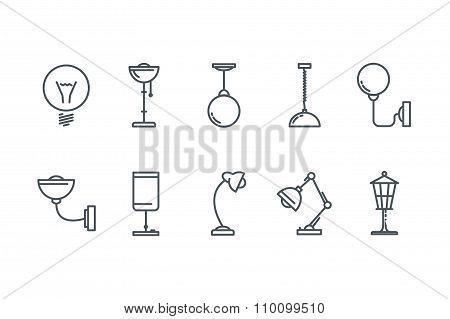 Outline Lamp Icon Set. Line art. Stock vector.