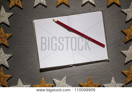 Notepad With Red Pencil On Slate Background, Christmas Frame