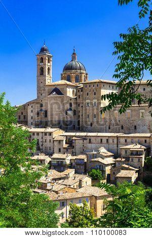 Landmarks of Italy. panoramic view of Urbino,Unesco site. Marche