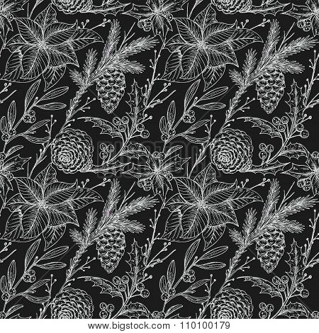 Vector Seamless Pattern With Hand Drawn Winter Plants