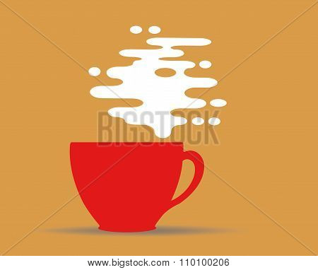 Steaming Coffee Cup Design On Yellow Background