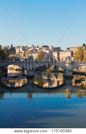 bridge and Tiber river in Rome, Italy