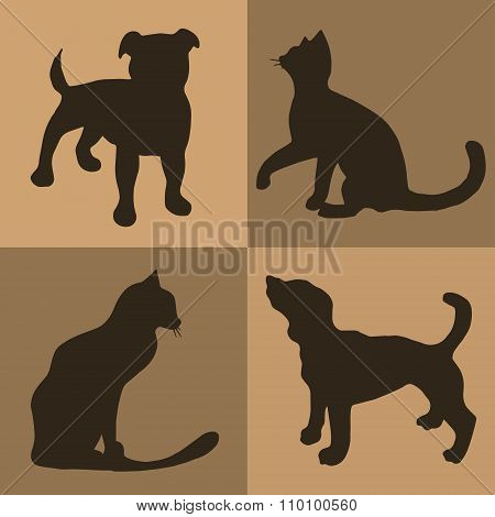 Illustration. Brown Background With Dogs And Cats. Pattern.
