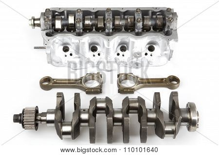 Separated Components Of Car Engine.