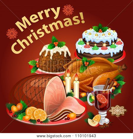 Christmas Dinner, Traditional Christmas Food And Desserts, Roast Turkey, Ham, Christmas Pie, Pudding