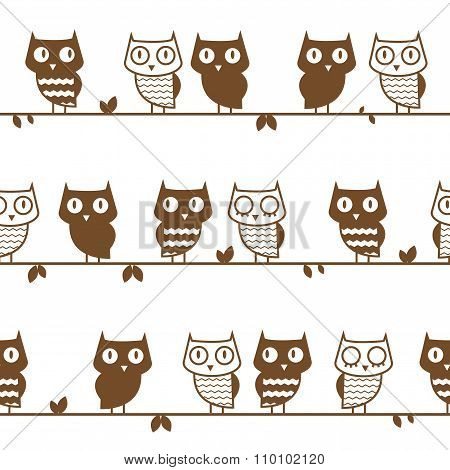 Pattern With Owls.