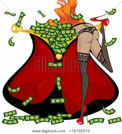 red girl and money