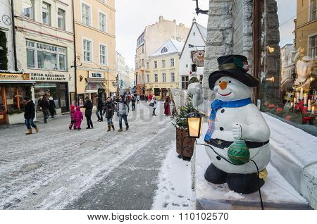 The Ancient Street Decorated To Christmas In Tallinn.