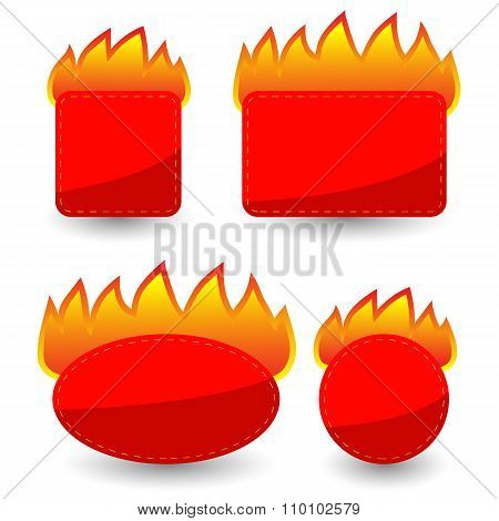 Set of Burning Paper Red Stickers