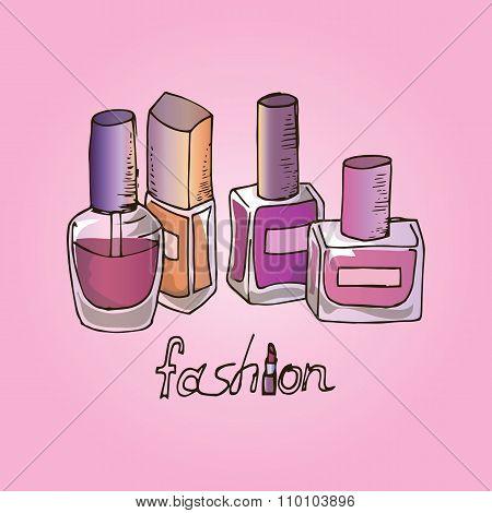 Illustration Of Cosmetics. Nail Polishes. Fashion.