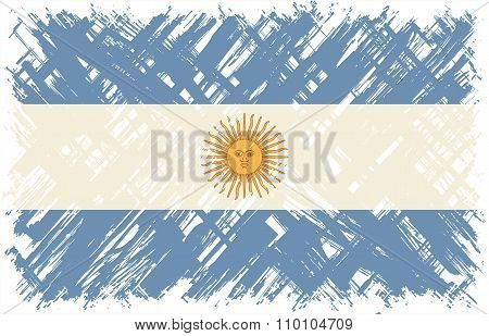 Argentinean grunge flag. Vector illustration.