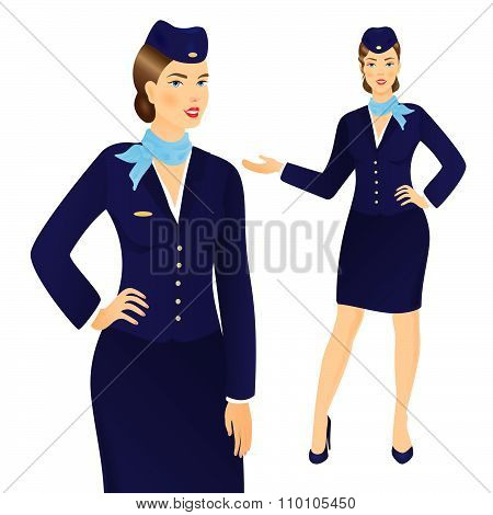 Stewardess In Blue Uniform