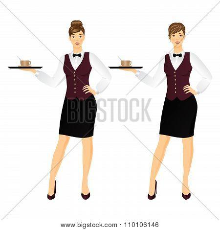 Waitress With Tray.vector Illustration