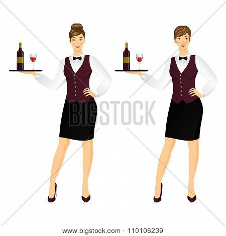 Waitress In  Uniform .vector Illustration