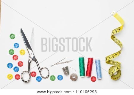 Needlework Tailoring Tools, Isolated On White Background