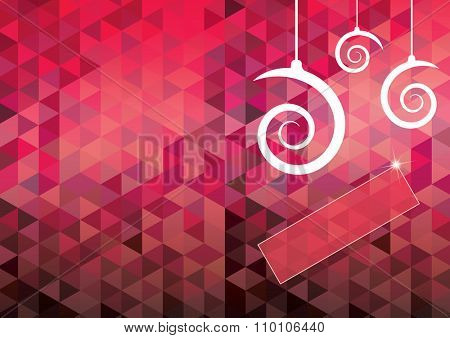 Christmas card with spiral shape balls and geometrical pattern background. EPS10 vector file.