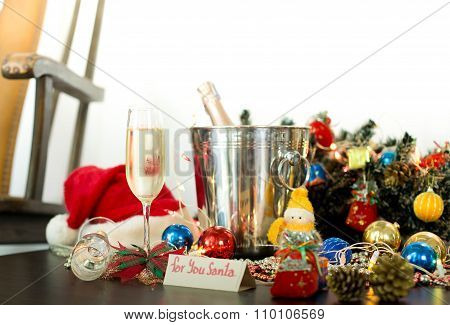 Christmas Deaorations With Champagne Wine