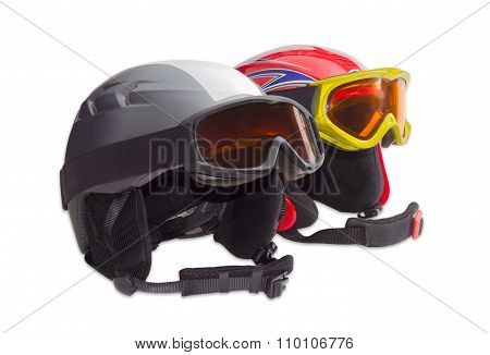 Two Protective Ski Helmet And Ski Goggles