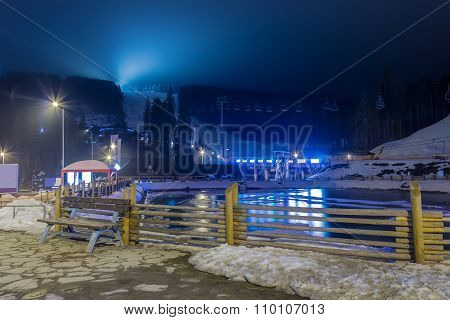 Ski Resort In The Evening