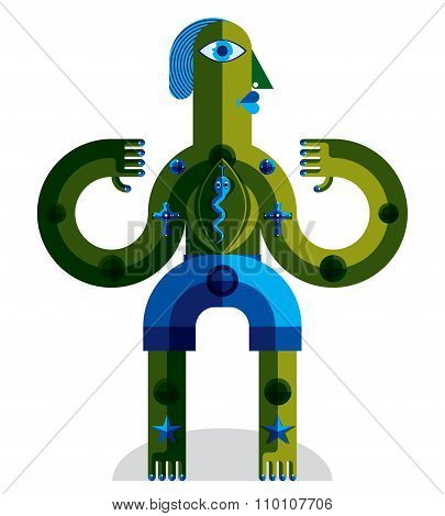 Bizarre Creature Vector Illustration, Cubism Graphic Modern Picture. Flat Design Image Of An Odd Cha