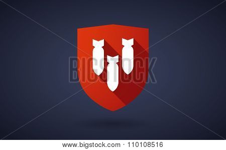 Long Shadow Shield Icon With Three Bombs Falling