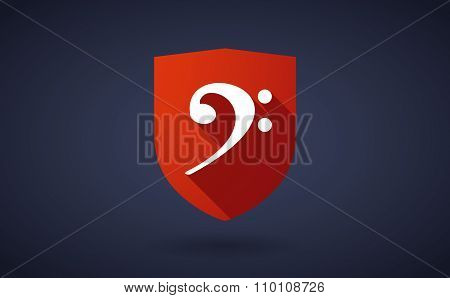 Long Shadow Shield Icon With An F Clef