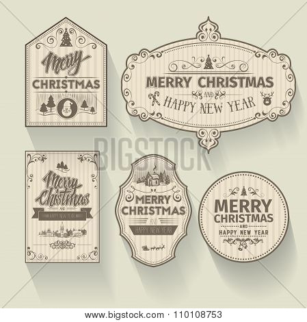 Set of Christmas and Happy New Year badges labels with clean modern styled design
