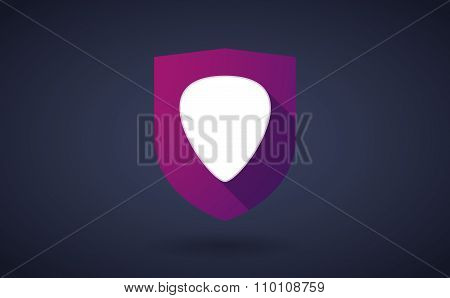 Long Shadow Shield Icon With A Plectrum
