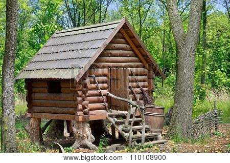 Wooden Hut In The Forest, House Of Witch Baba Yaga