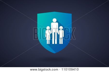Long Shadow Shield Icon With A Male Single Parent Family Pictogram
