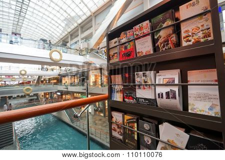 SINGAPORE - NOVEMBER 08, 2015: close up shot of promotional material in The Shoppes at Marina Bay Sands. The Shoppes at Marina Bay Sands is one of Singapore's largest luxury shopping malls
