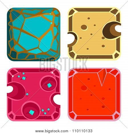 Different Materials and Textures for Game. Square Icon Vector Set