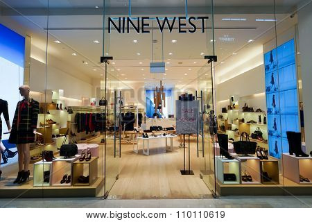 SINGAPORE - NOVEMBER 08, 2015: interior of Nine West store in The Shoppes at Marina Bay Sands. Nine West, also 9 West, is a fashion wholesale and retail company.