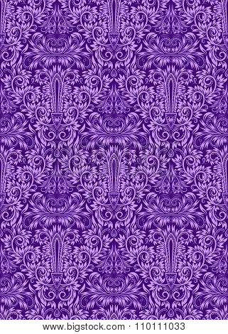 Purple floral damask seamless pattern