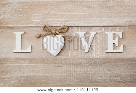 Love Wooden Text