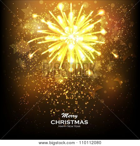 Christmas Gold Background with Snowflakes and Snow. Abstract Bright Golden Falling Star - Shooting Star with Twinkling Star Trail on Dark Brown Background - Meteoroid, Comet, Asteroid - Backdrop.