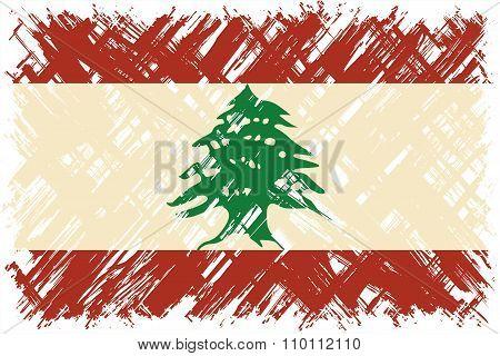 Lebanese grunge flag. Vector illustration.