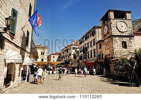 Tourists Visit Old Town Of Kotor