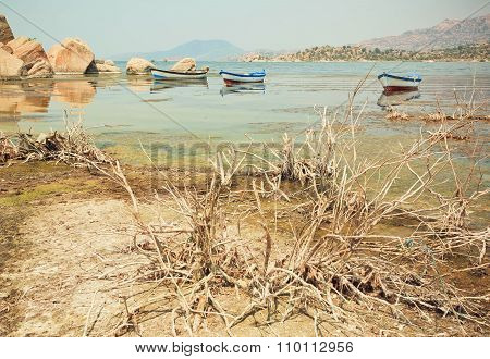 Fishing Boat On The Water Of Drying Lake Buf, Rural Turkey.
