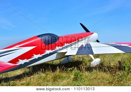 Model Airplane On A Background Of Blue Sky