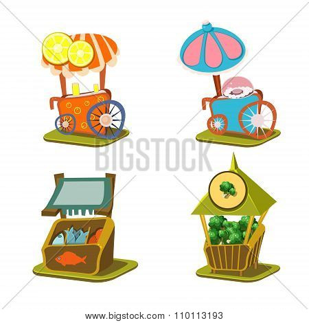 Cart Stall and Street Food Vector Illustration
