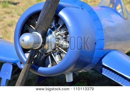 Screw The Engine Of An Old Airplane, Close-up
