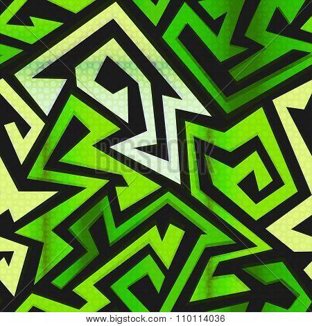Green Maze Seamless Pattern
