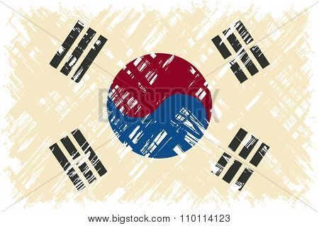 South Korean grunge flag. Vector illustration.