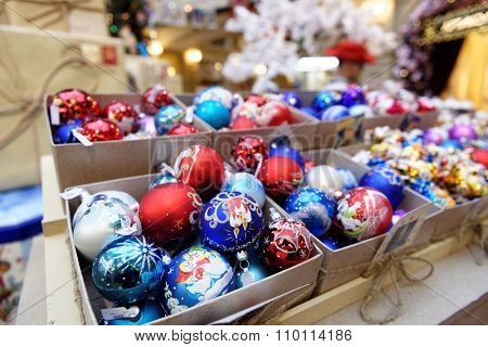 MOSCOW, RUSSIA - NOVEMBER 27, 2015: Christmas decorations in the GUM. The traditional Christmas fair this year is inspired by memories about 1960s